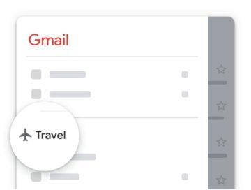 nové kategorie Gmail Travel Cestování
