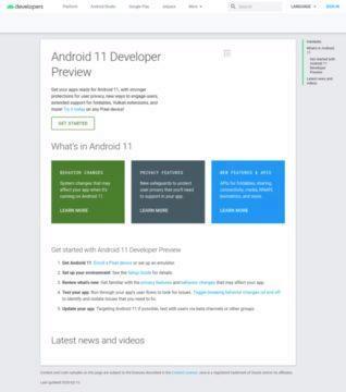 omylem publikovany web Android 11 screenshot
