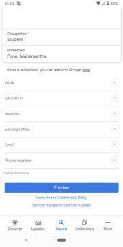 profilové karty Google vyhledávání screen 2