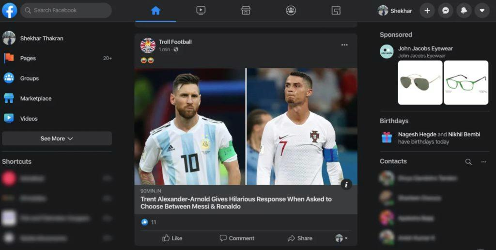 tmavý režim Facebook desktop news feed