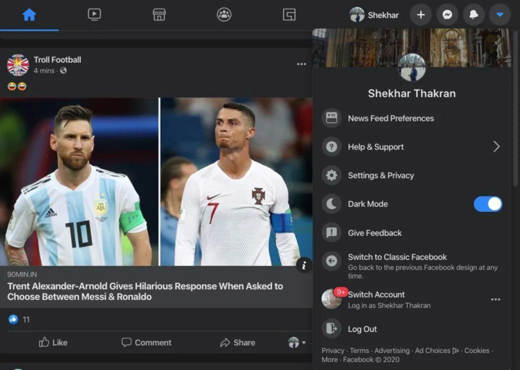 tmavý režim Facebook desktop pravé menu