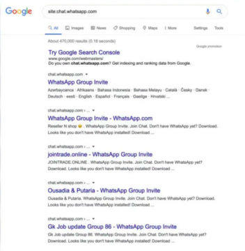 WhatsApp chyba screen vyhledávání Google