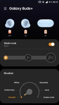 aplikace Galaxy Wearable hlavní obrazovka