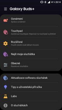 aplikace Galaxy Wearable nastavení