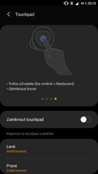 aplikace Galaxy Wearable nastavení teouchapdu