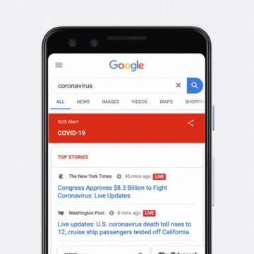 Google koronavirus vyhledávání