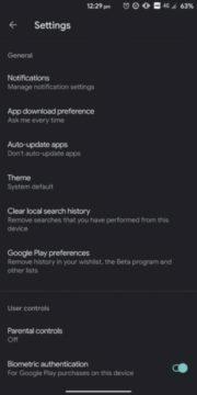 google play tmavý režim přepínač