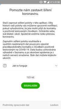 Mapy.cz koronavirus sledování screen 1