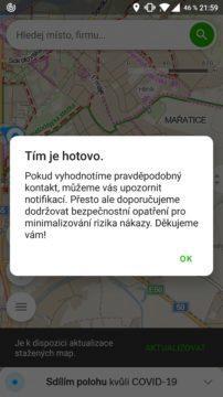 Mapy.cz koronavirus sledování screen 2