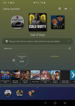 Samsung Galaxy Fold hlavní displej herní režim
