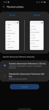 Samsung One UI 2 obnovovaci frekvence