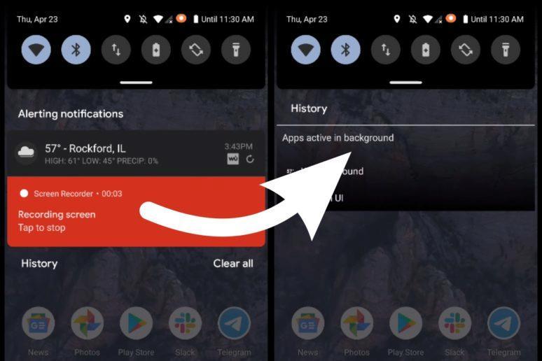 Android 11 pevné notifikace