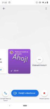 aplikace google duo historie hovorů