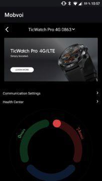 Aplikace Mobvoi hlavní obrazovka