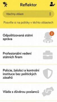 aplikace Reflektor screen 2