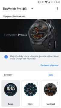 Aplikace Wear OS hlavní obrazovka