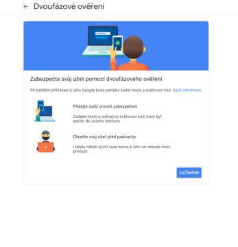 dvoufaktorové oveření google služby gmail
