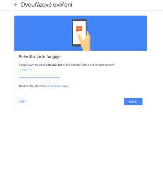 dvoufázové ověření google účet