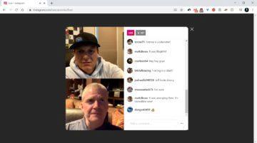 Instagram Live na webu screen