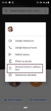 jak smazat historii Google Duo
