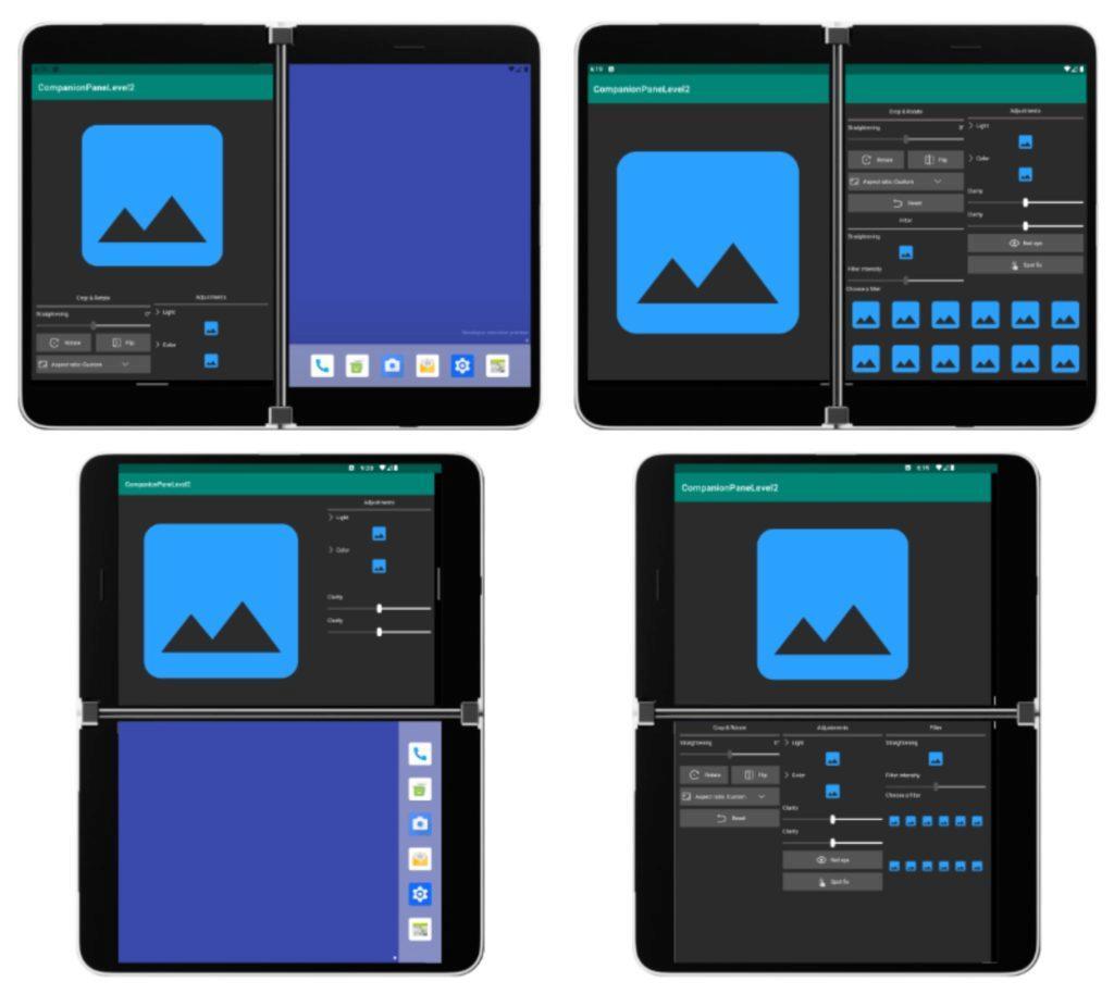 Microsoft Surface Duo vzhled aplikací ukázka