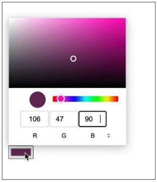 nové formuláře Chromium výběr barvy