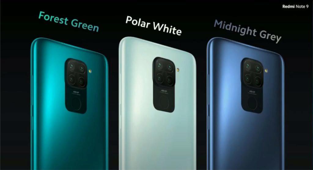 Redmi Note 9 barvy