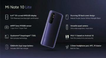 Xiaomi MI Note 10 Lite specifikace