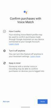 Asistent Google hlasové potvrzování plateb nastavení 2