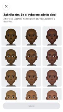 Facebook avatar vytvoreni barva pleti