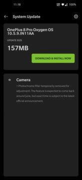 fotochromatický filtr OnePlus vypnuti