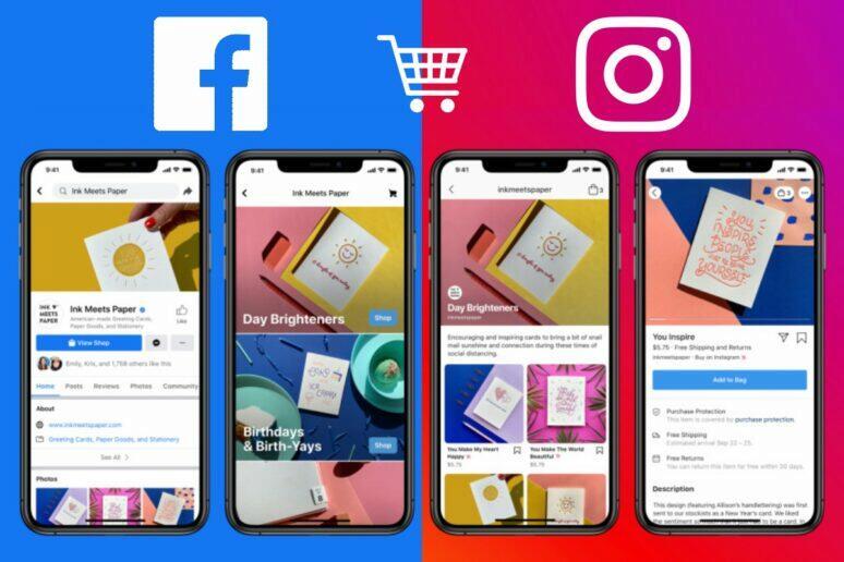 nakupování na Facebooku a Instagramu