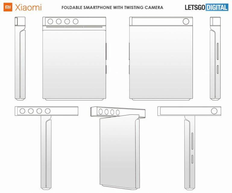 Xiaomi ohebný telefon s otočným foťákem patent 2