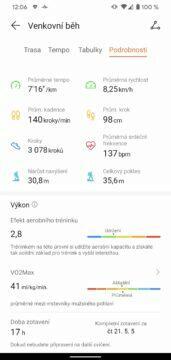 aplikace Huawei Health Zdraví detail sportovniho vykonu 5