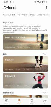 aplikace Huawei Health Zdraví druhy cviceni