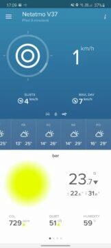 aplikace Netatmo Weather data anemometr