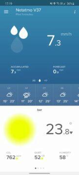 aplikace Netatmo Weather data srážkoměr