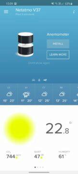 aplikace Netatmo Weather prázdná karta anemometru