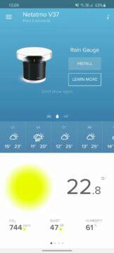 aplikace Netatmo Weather prázdná karta srážkoměru