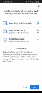 automatické mazání uživatelksých dat Google nastavení YouTube