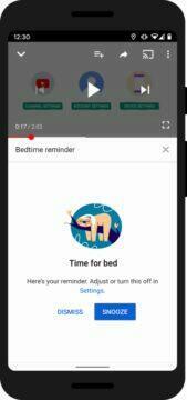 Digitální rovnováha spánek Google tipy vecerka na YouTube