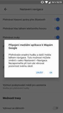 Google Mapy přehrávání hudby informace