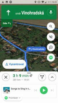 Google Mapy přehrávání hudby rozbalena mala nabidka