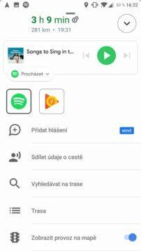 Google Mapy přehrávání hudby rozbalena nabidka