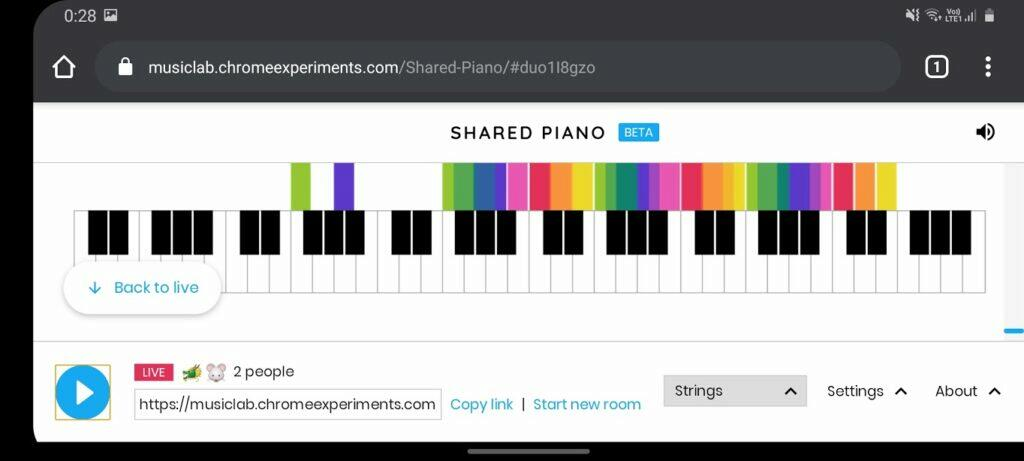 Google sdílené online piano Chrome Android screenshot
