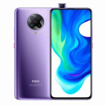 POCO F2 Pro telefony v akci bila fialova