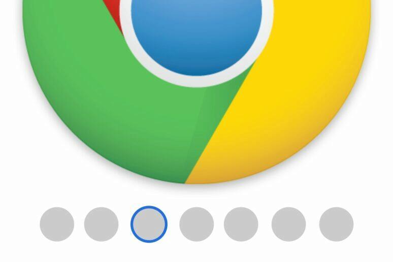 spodní lišta s kartami Chrome