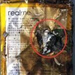 vybuchlý Realme telefon baterie přední strana
