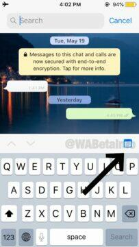 vyhledávání WhatsApp zpráv podle data kalendar