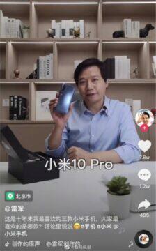 Xiaomi Lei Jun tři nejoblíbenější mobily Mi 10 Pro